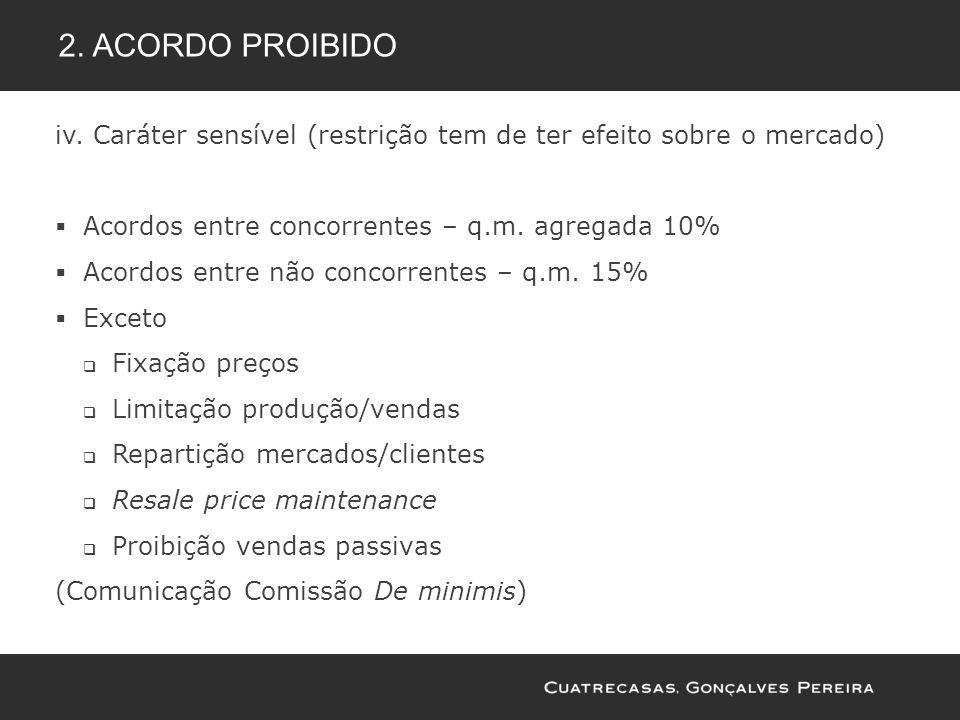 2. Acordo proibido iv. Caráter sensível (restrição tem de ter efeito sobre o mercado) Acordos entre concorrentes – q.m. agregada 10%