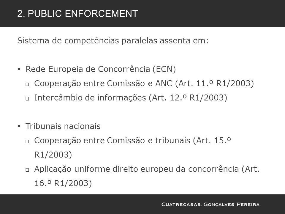 2. Public enforcement Sistema de competências paralelas assenta em: