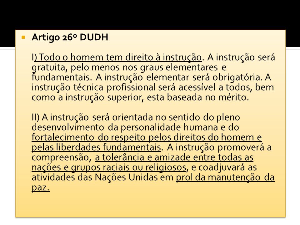 Artigo 26º DUDH