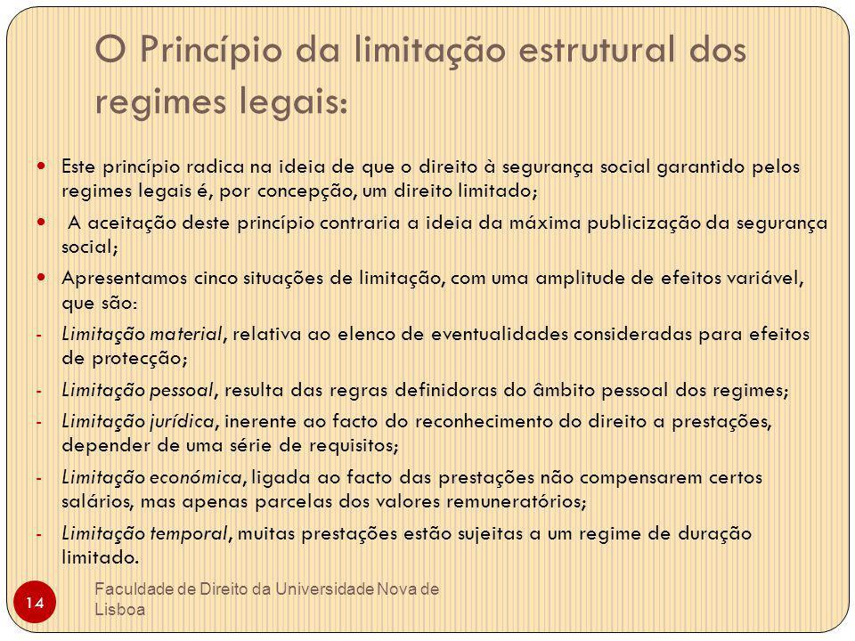 O Princípio da limitação estrutural dos regimes legais: