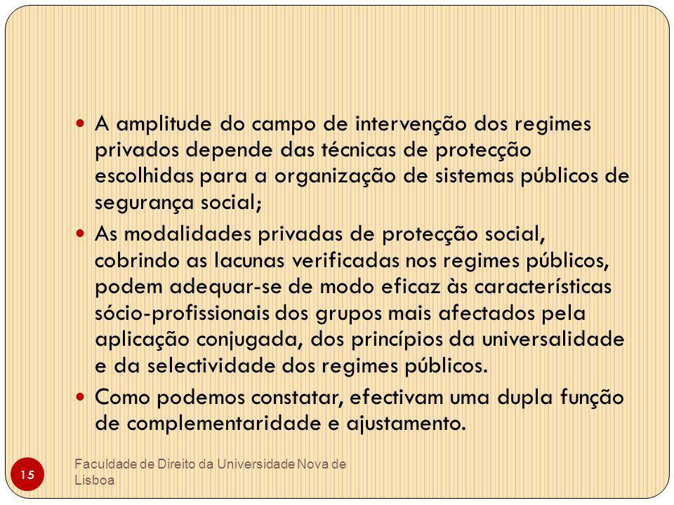 A amplitude do campo de intervenção dos regimes privados depende das técnicas de protecção escolhidas para a organização de sistemas públicos de segurança social;