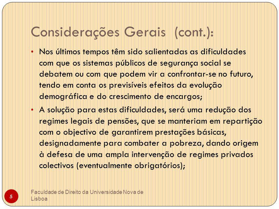 Considerações Gerais (cont.):