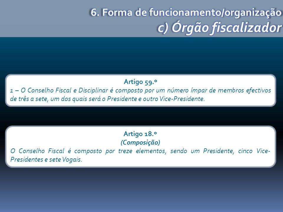 c) Órgão fiscalizador 6. Forma de funcionamento/organização