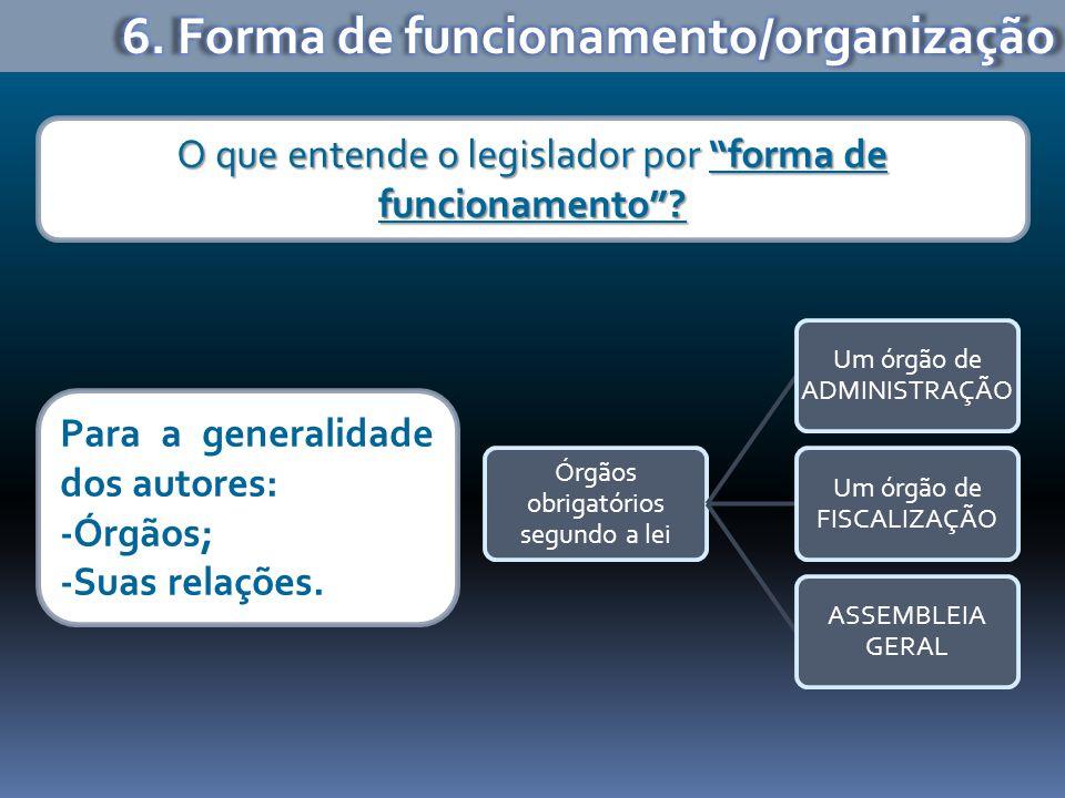6. Forma de funcionamento/organização