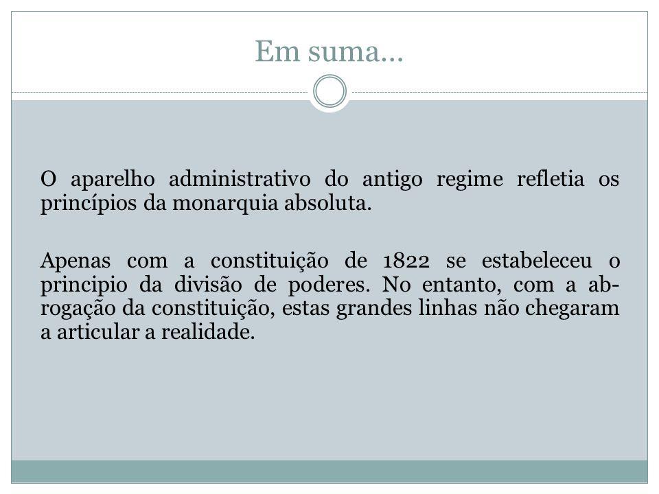 Em suma… O aparelho administrativo do antigo regime refletia os princípios da monarquia absoluta.