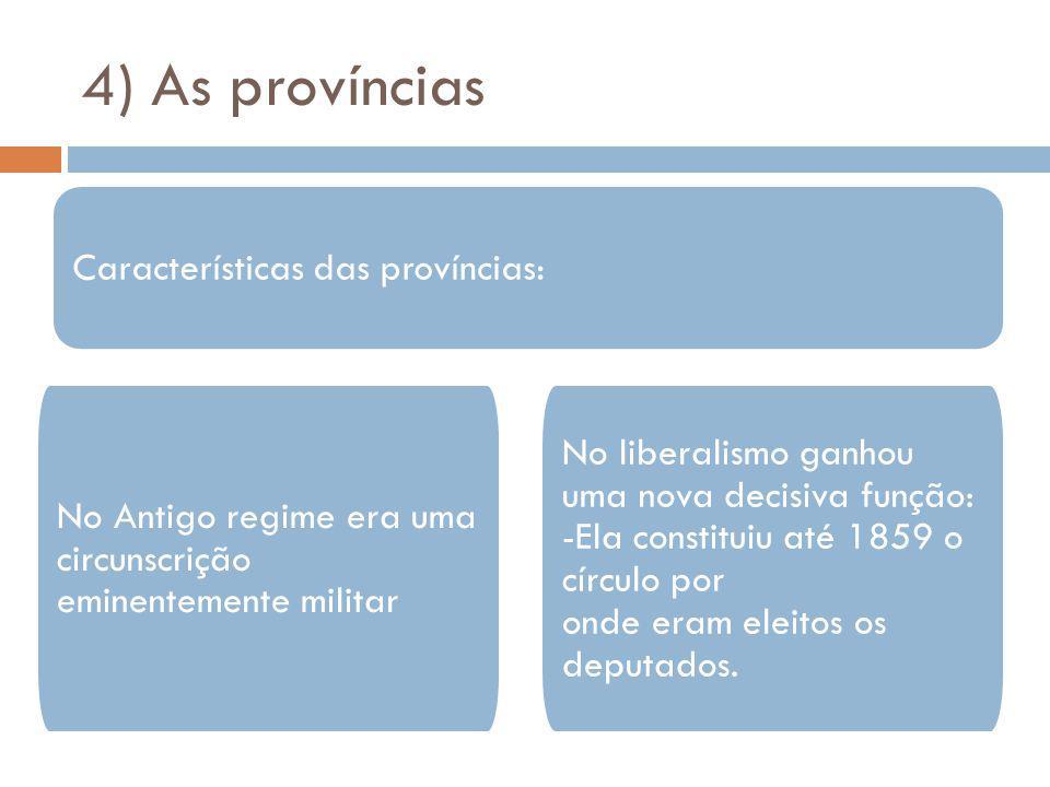 4) As províncias Características das províncias: