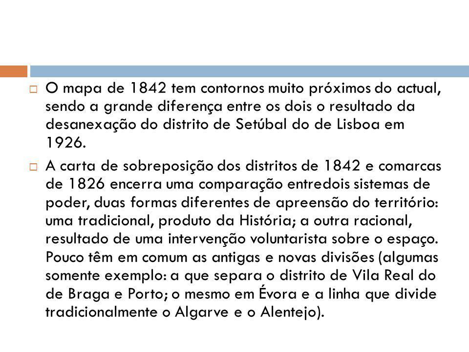 O mapa de 1842 tem contornos muito próximos do actual, sendo a grande diferença entre os dois o resultado da desanexação do distrito de Setúbal do de Lisboa em 1926.