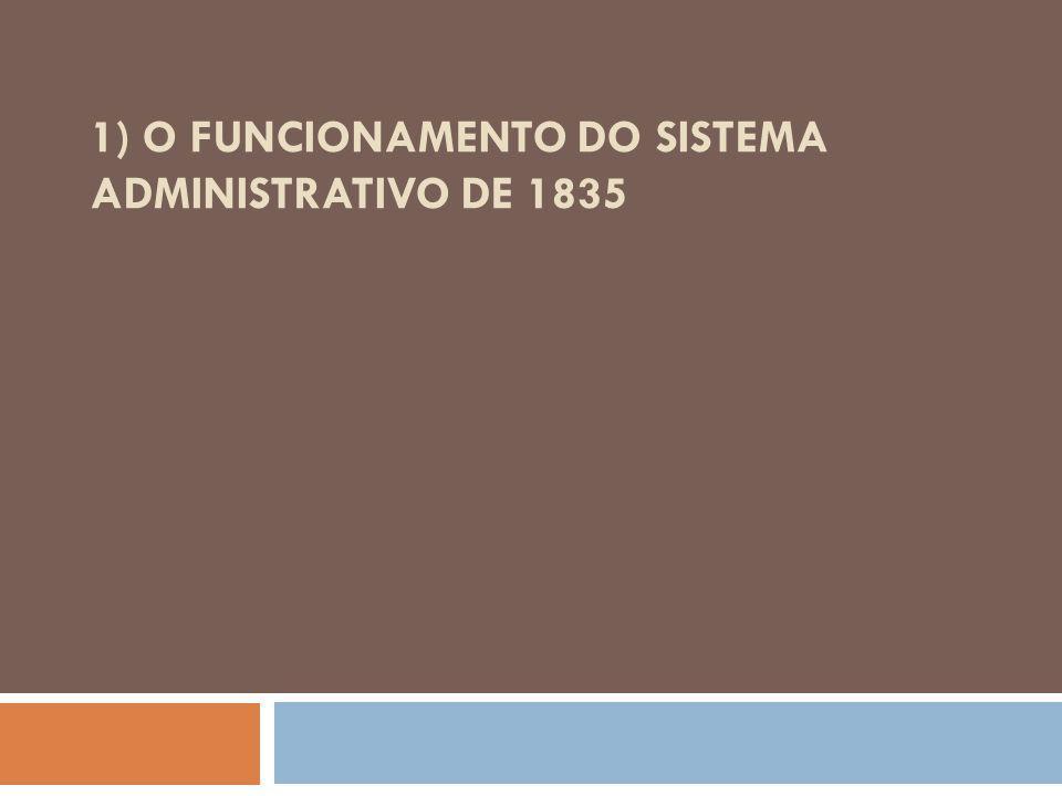 1) O funcionamento do sistema administrativo de 1835