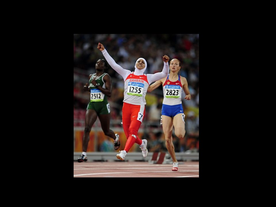 Ruqaya Al Ghassra Beijing Olympics in 2008. wearing the hijab. competed semi-finals in the 200 metres at the 2008 Olympics in Beijing.