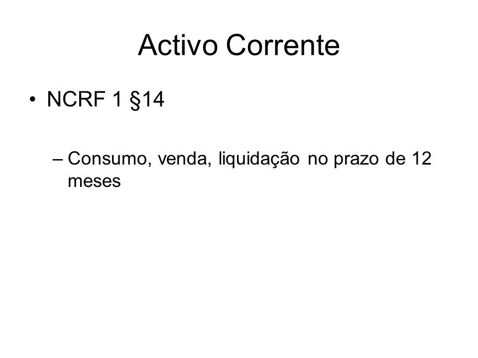 Activo Corrente NCRF 1 §14 Consumo, venda, liquidação no prazo de 12 meses