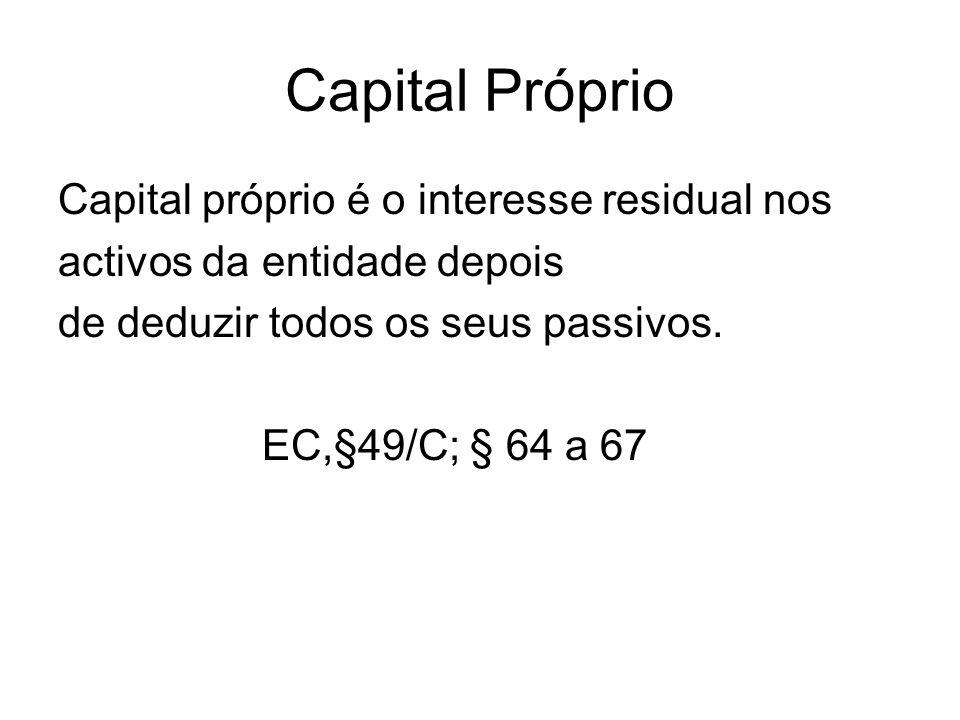 Capital Próprio Capital próprio é o interesse residual nos activos da entidade depois de deduzir todos os seus passivos.