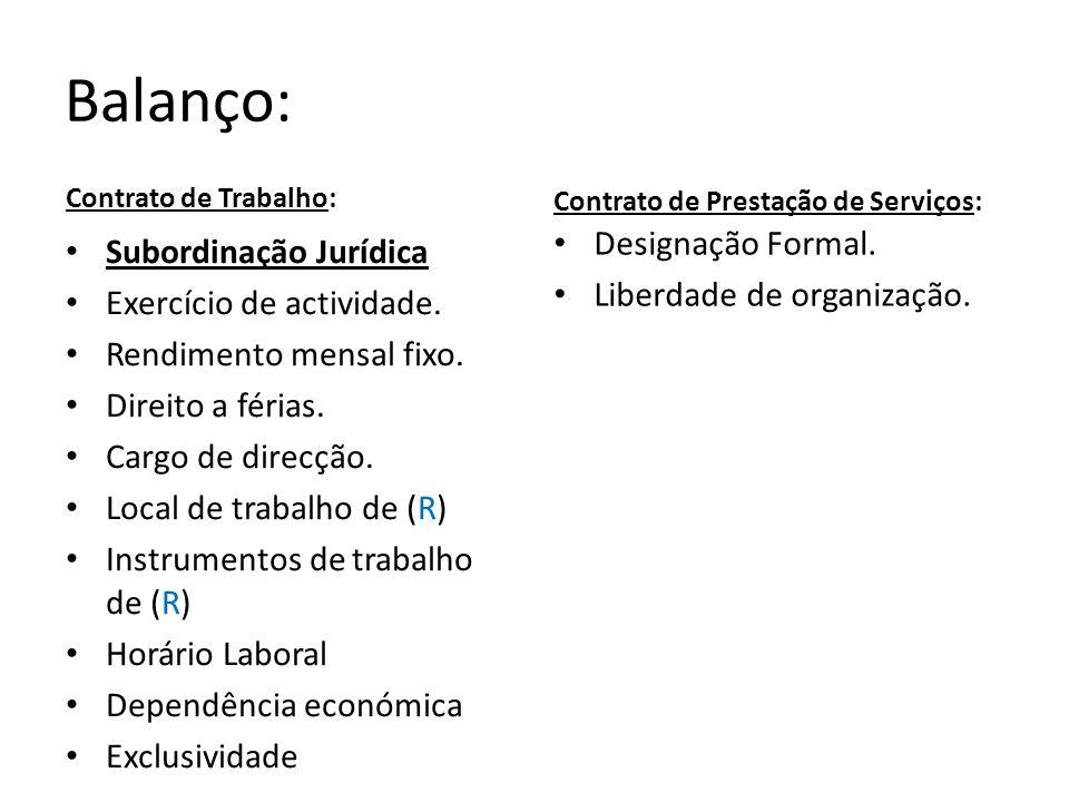 Balanço: Designação Formal. Subordinação Jurídica