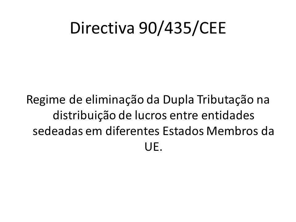 Directiva 90/435/CEE Regime de eliminação da Dupla Tributação na distribuição de lucros entre entidades sedeadas em diferentes Estados Membros da UE.