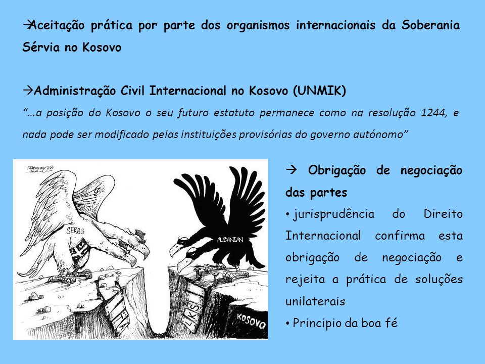 Aceitação prática por parte dos organismos internacionais da Soberania Sérvia no Kosovo