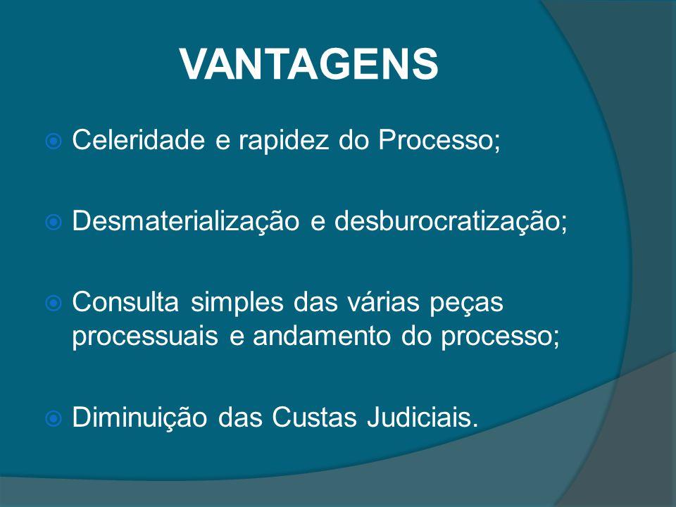 VANTAGENS Celeridade e rapidez do Processo;