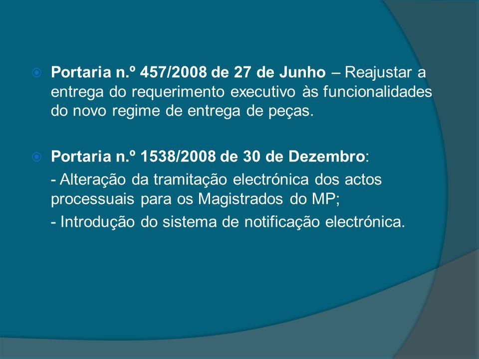 Portaria n.º 457/2008 de 27 de Junho – Reajustar a entrega do requerimento executivo às funcionalidades do novo regime de entrega de peças.
