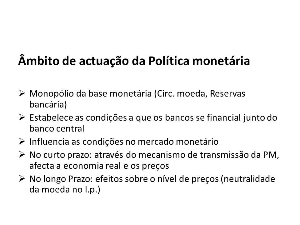 Âmbito de actuação da Política monetária