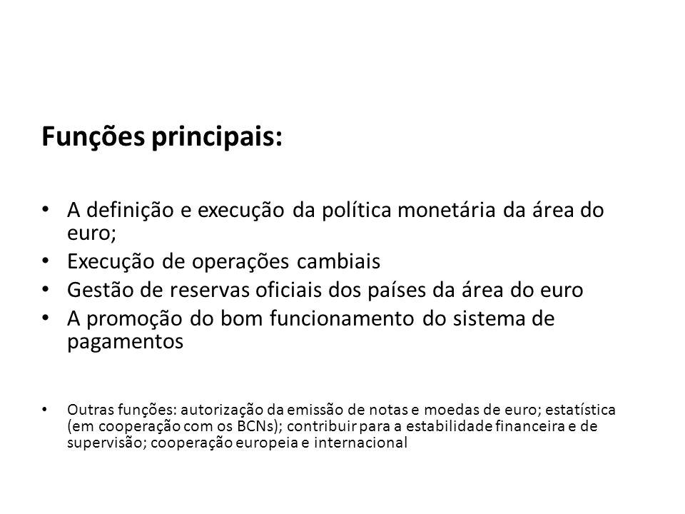 Funções principais: A definição e execução da política monetária da área do euro; Execução de operações cambiais.