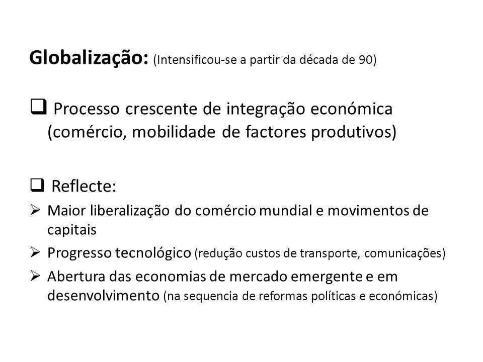 Globalização: (Intensificou-se a partir da década de 90)