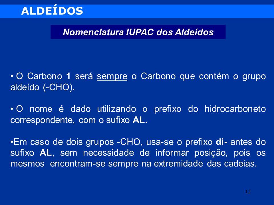 Nomenclatura IUPAC dos Aldeídos