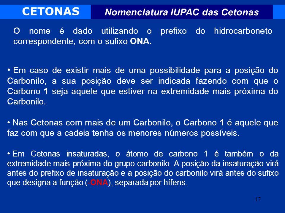 Nomenclatura IUPAC das Cetonas