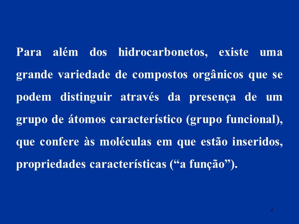 Para além dos hidrocarbonetos, existe uma grande variedade de compostos orgânicos que se podem distinguir através da presença de um grupo de átomos característico (grupo funcional), que confere às moléculas em que estão inseridos, propriedades características ( a função ).