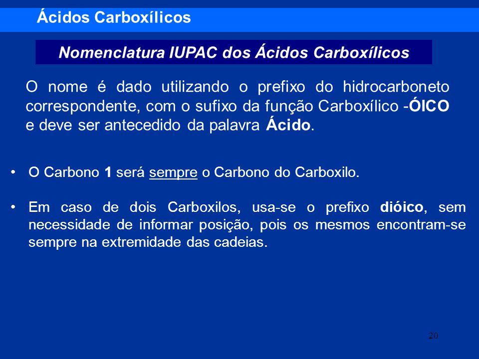 Nomenclatura IUPAC dos Ácidos Carboxílicos