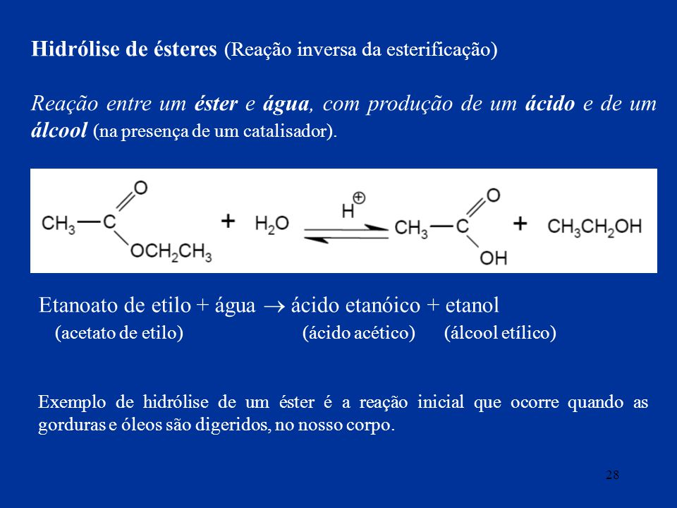 Hidrólise de ésteres (Reação inversa da esterificação)