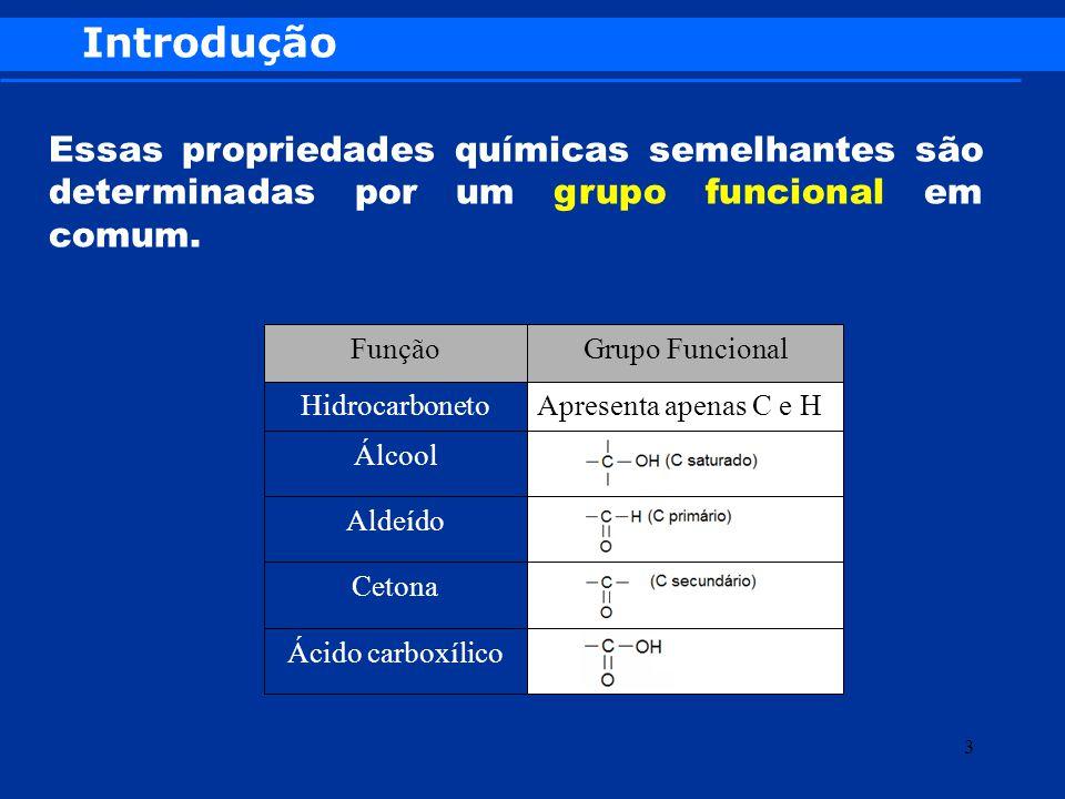 Introdução Essas propriedades químicas semelhantes são determinadas por um grupo funcional em comum.