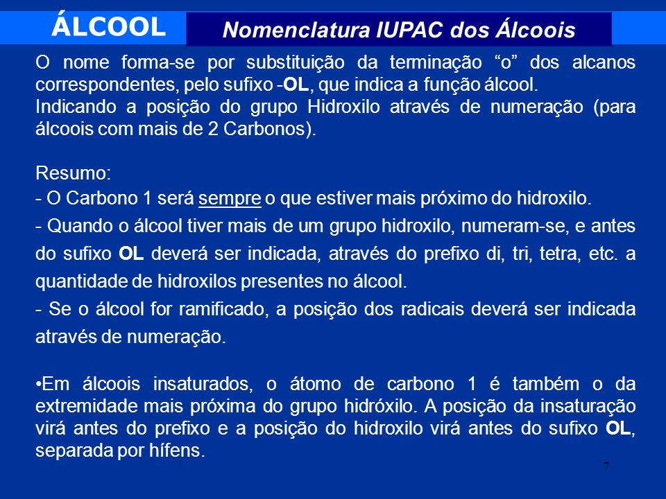 Nomenclatura IUPAC dos Álcoois
