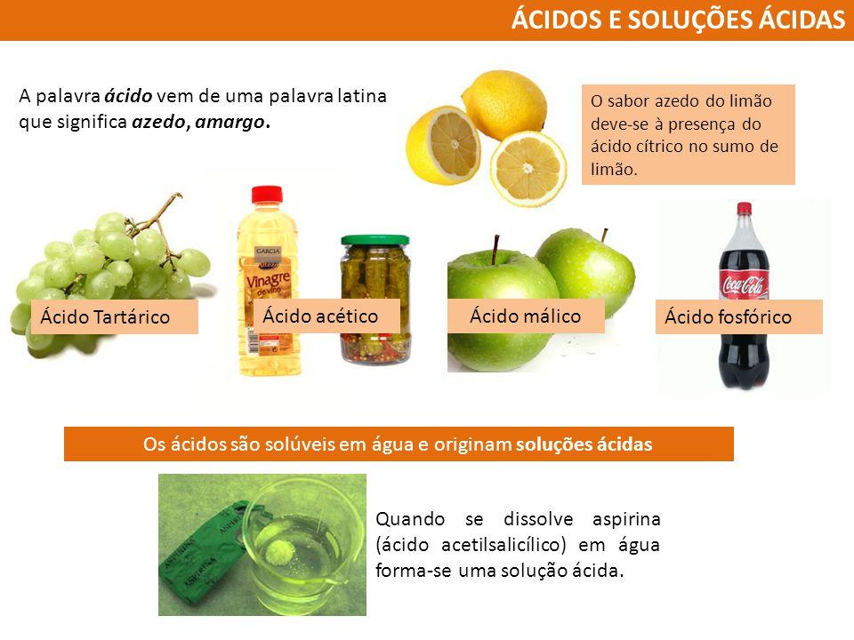 Os ácidos são solúveis em água e originam soluções ácidas