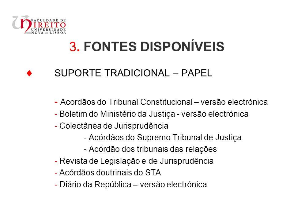 3. FONTES DISPONÍVEIS  SUPORTE TRADICIONAL – PAPEL