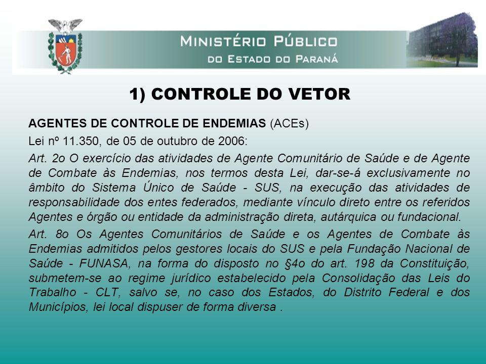 1) CONTROLE DO VETOR AGENTES DE CONTROLE DE ENDEMIAS (ACEs)