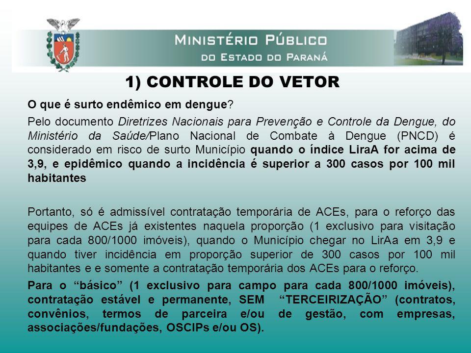1) CONTROLE DO VETOR O que é surto endêmico em dengue