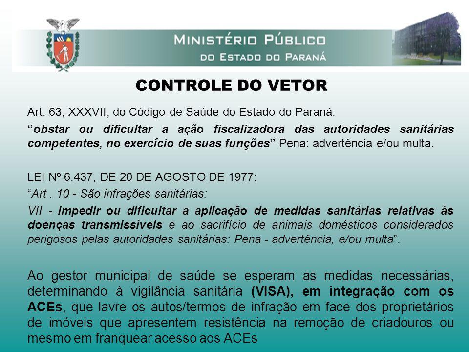 CONTROLE DO VETOR Art. 63, XXXVII, do Código de Saúde do Estado do Paraná: