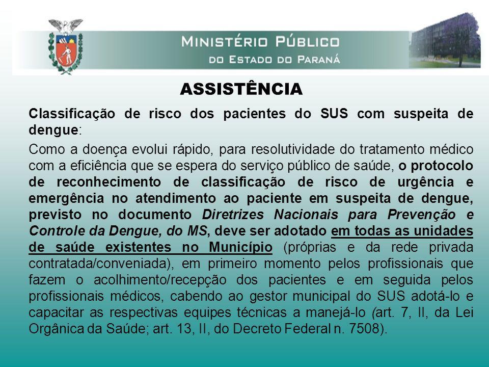 ASSISTÊNCIA Classificação de risco dos pacientes do SUS com suspeita de dengue: