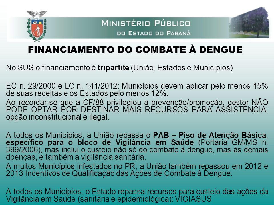 FINANCIAMENTO DO COMBATE À DENGUE