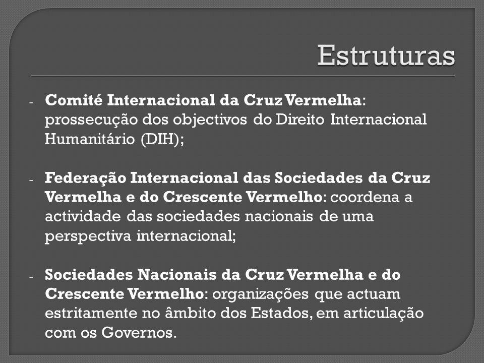 Estruturas Comité Internacional da Cruz Vermelha: prossecução dos objectivos do Direito Internacional Humanitário (DIH);