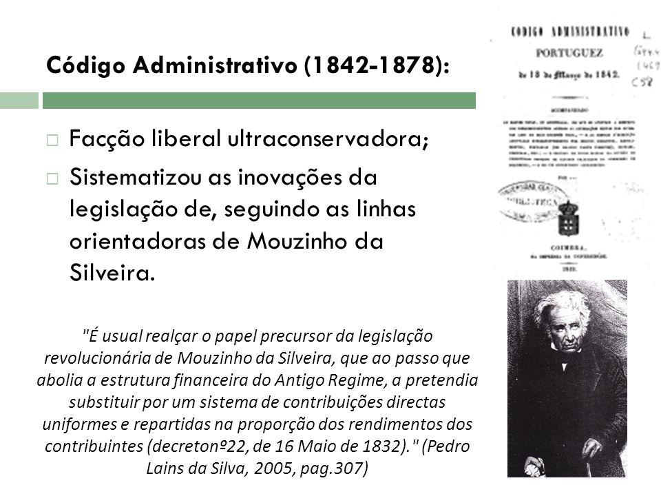 Código Administrativo (1842-1878): Facção liberal ultraconservadora;