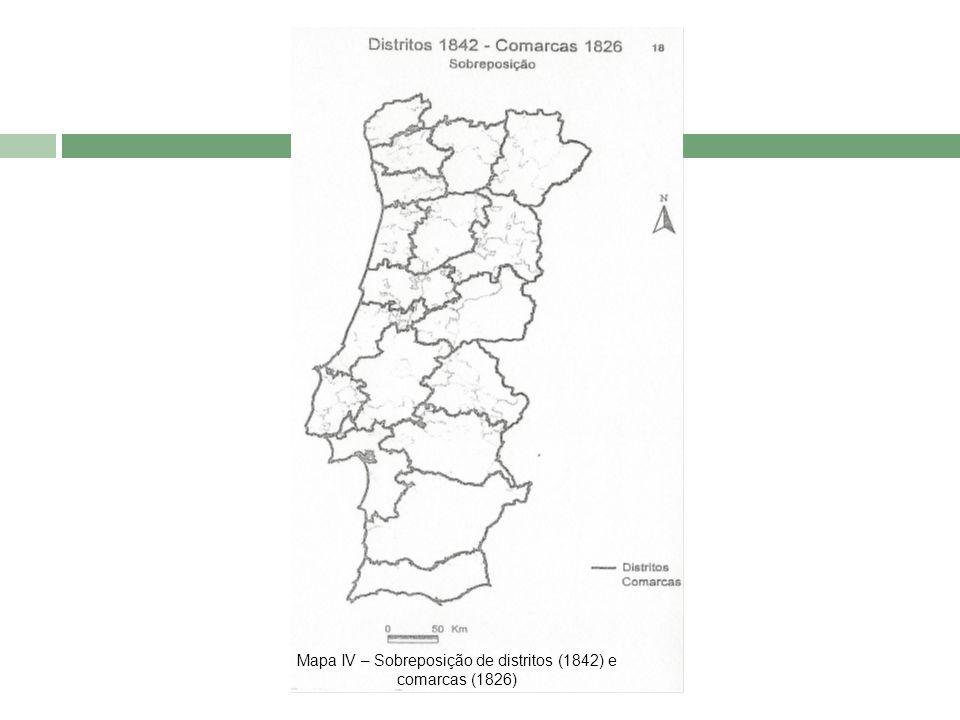 Mapa IV – Sobreposição de distritos (1842) e comarcas (1826)