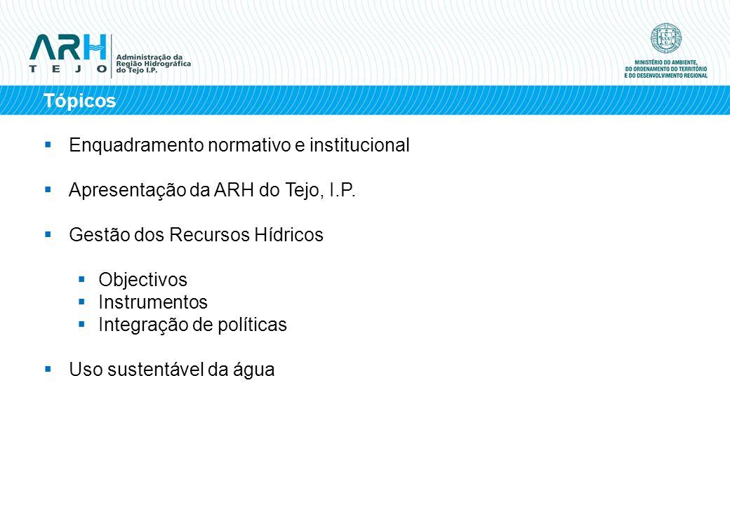 Tópicos Enquadramento normativo e institucional. Apresentação da ARH do Tejo, I.P. Gestão dos Recursos Hídricos.