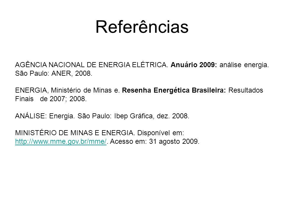 Referências AGÊNCIA NACIONAL DE ENERGIA ELÉTRICA. Anuário 2009: análise energia. São Paulo: ANER, 2008.