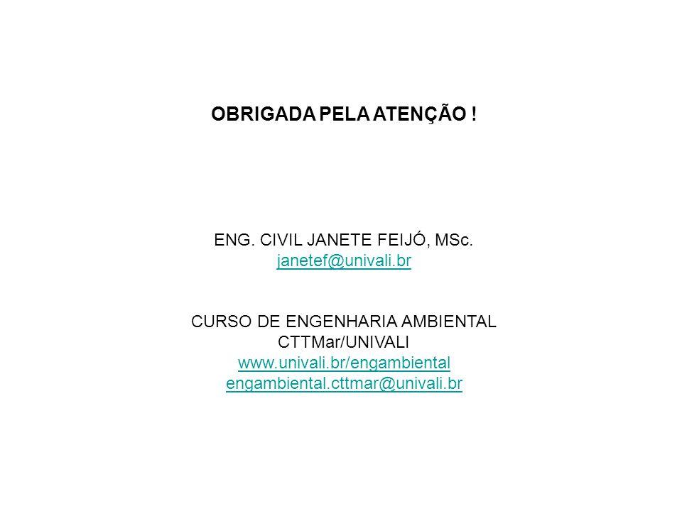 OBRIGADA PELA ATENÇÃO ! ENG. CIVIL JANETE FEIJÓ, MSc.