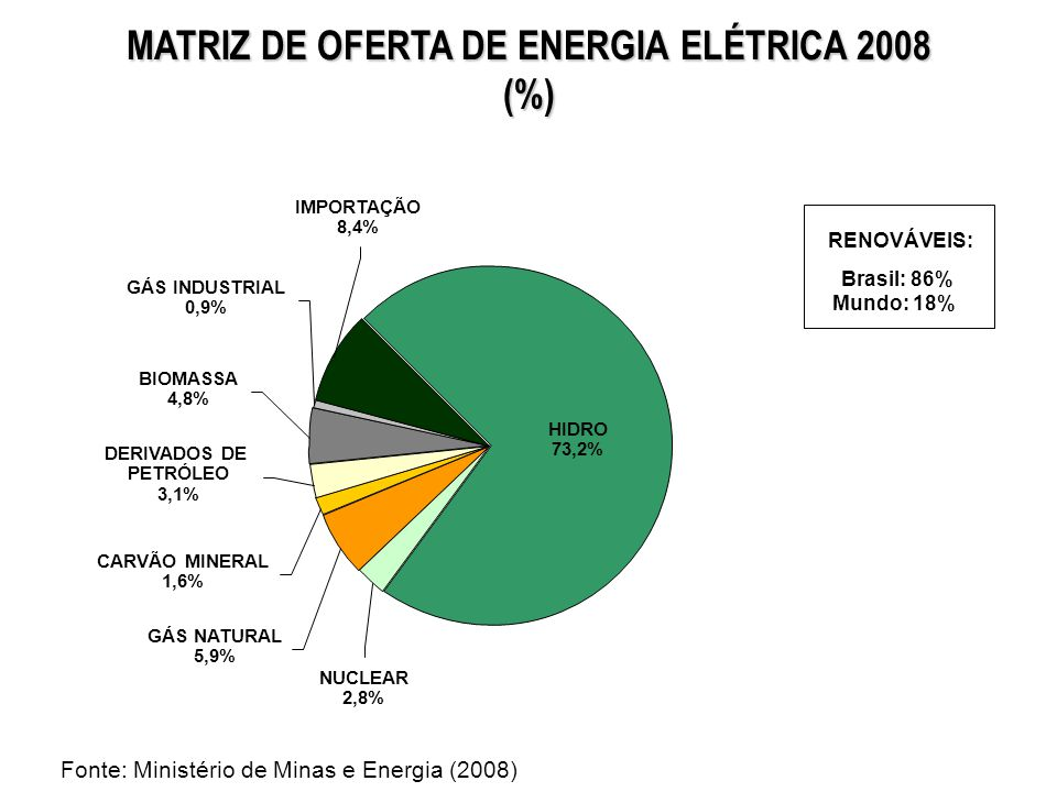 MATRIZ DE OFERTA DE ENERGIA ELÉTRICA 2008