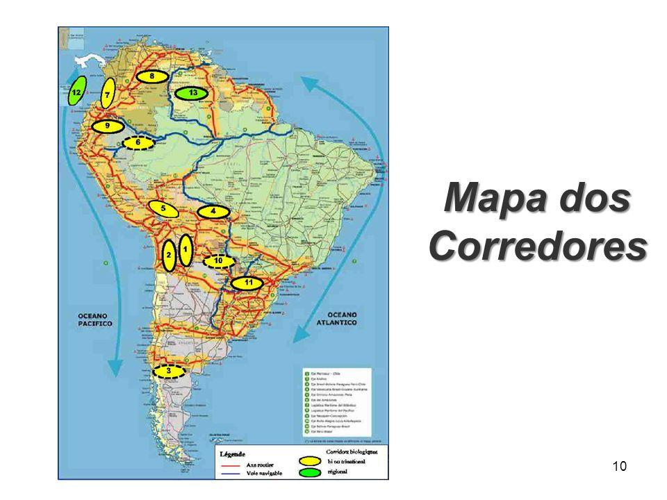 Mapa dos Corredores