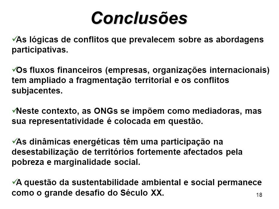Conclusões As lógicas de conflitos que prevalecem sobre as abordagens participativas.
