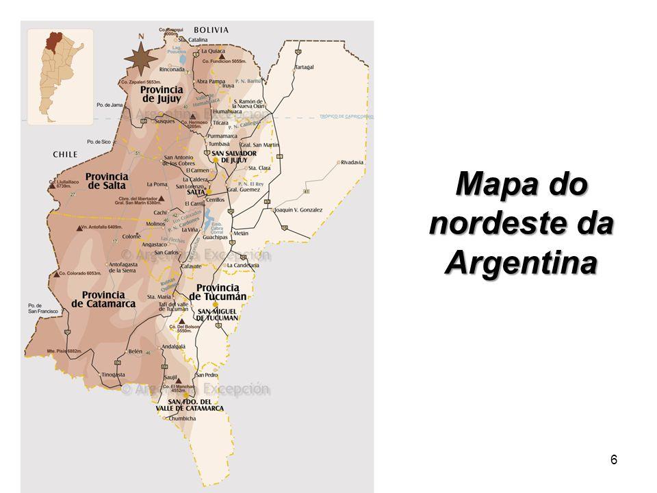 Mapa do nordeste da Argentina