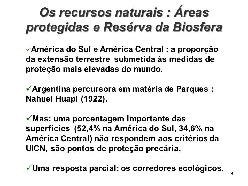Os recursos naturais : Áreas protegidas e Resérva da Biosfera