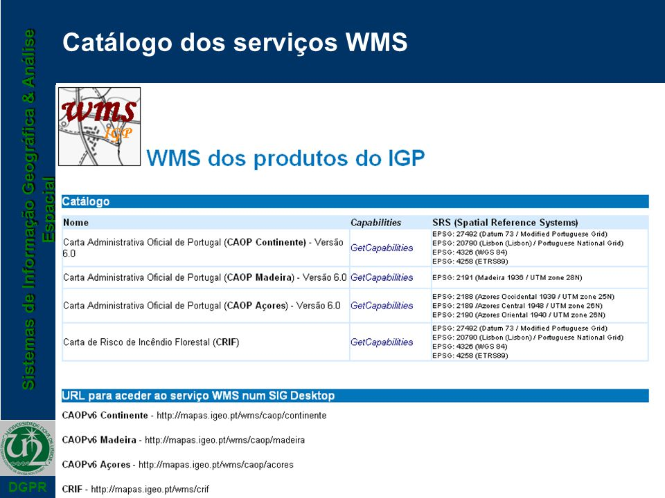 Catálogo dos serviços WMS