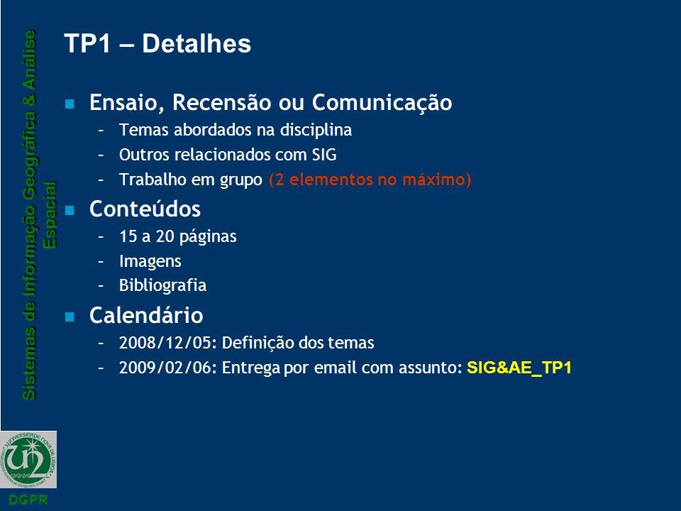 TP1 – Detalhes Ensaio, Recensão ou Comunicação Conteúdos Calendário